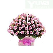 40 Pink Flower Basket Smoothly Wrap with Same Color Ribbon