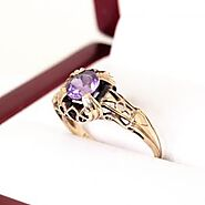 Beautiful Antique Amethyst Solitaire, Circa late 1800's to early 1900's.  A very special ring