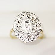 Vintage Diamond ring in 18ct yellow and white gold with lovely floral features