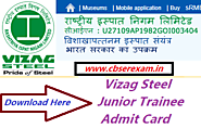 Vizag Steel Admit Card 2018 | RINL VSP Junior Trainee Hall Ticket Download @ www.vizagsteel.com - CbseRexam