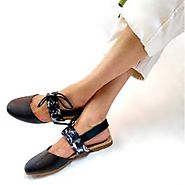 Buy Kizzy Black Slip On Flat Sandals With Back Strap Online at Best Price From PAIO Shoes