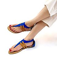 Buy Imani Blue And Brown T-Bar Flat Sandals Online at Best Price From PAIO Shoes