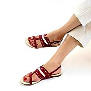 Buy Roxanne Maroon And White Flat Sandals Online at Best Price From PAIO Shoes