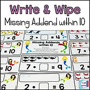 Missing Part Write and Wipe: Find the Missing Addend within 10 | TpT