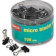 "Staples® Micro Metal Binder Clips, Black, 1\/2"" Size with 1\/8\"" Capacity 