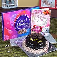 Buy Chocolate Cake and Celebration Pack with Birthday Greeting Card Online - OyeGifts.com