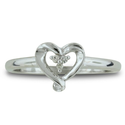 SuperJeweler Three Stone Diamond Heart Shape Promise Ring in Sterling Silver