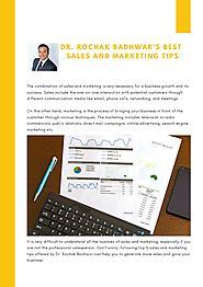 Dr. Rochak Badhwar's Best Sales and Marketing Tips