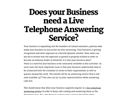 Does your Business need a Live Telephone Answering Service?