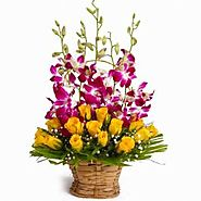 Basket of Yellow Roses with Orchids