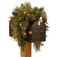 National Tree 36 Inch Feel Real Colonial Mail Box Swag with 8 Pine Cones, 8 Red Berries and 35 Warm White Battery Ope...