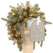 "CC Christmas Decor 36"" Pre-Lit Arctic Spruce Mailbox Swag - Clear LED Lights"