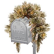 National Tree 3 Foot Glittery Bristle Pine Mailbox Swag with White Tipped Cones and 35 Battery Operated Warm White LE...