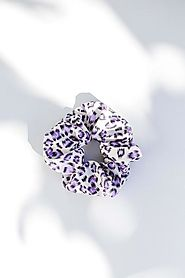 Purple Leopard Scrunchie