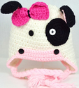 Children's Crochet Animal Hat: Ladybugs - Cows - Owls! (1-2 Years, Cow)