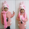 Vktech Pink Bunny Hats with Ears Cartoon Plush Warm Cap Hat Earmuff Scarf Gloves