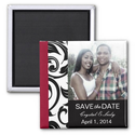 Black and Burgundy Photo Save The Date Magnet