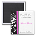 Black and White Swirl With Hot Pink Save The Date