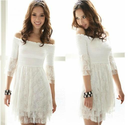 free shipping2013new fashion ladies' ball gown half butterfly sleeves slash neck empire waist white lace girls' mini ...