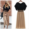 """LASION""European and American big fat summer new women's dress code was thin waist chiffon dress long skirt#4110-in D..."
