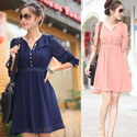 2013 Plus Size Chiffon One Piece Dress Women's High Waist Three Quarter Sleeve V Neck Knee Length Dress Free Shipping...