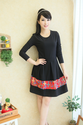 Ladies Cute Plus Size XXXL Black Long Sleeve Empire Waist Dress with Floral Pirnting Free Shipping 8091-inDresses fro...