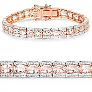Rose Gold Plated 11.61 Carat Genuine Morganite Silver Bracelet
