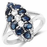 Blue Sapphire and White Topaz .925 Sterling Silver Ring