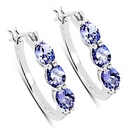 Tanzanite and White Diamond .925 Sterling Silver Earrings