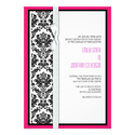 Damask Bow Wedding Invitation with Hot Pink