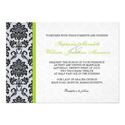 Green Damask Monogram Invitation