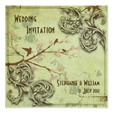 Vintage Sage Love Birds Wedding Invitation