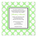 Green Polka Dot Wedding Invitation
