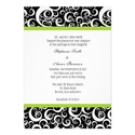 Black & White Damask Wedding Invitation with Green