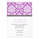 Purple Damask Wedding Invitation