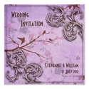 Vintage Lavender Love Birds Wedding Invitation