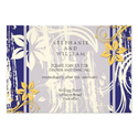 Blue and Yellow Swirl Wedding Reception Card