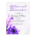 Purple Rose Wedding Rehearsal Dinner Card
