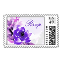 Purple Rose Wedding RSVP Postage Stamp