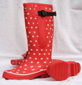 Extra Wide Fit Red and White Spotted Rain Boots - up to 20 inch Calf