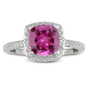2 1/2ct Cushion Cut Created Pink Sapphire and Diamond Ring in Sterling Silver
