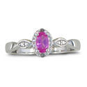 1/2ct Diamond and Created Pink Sapphire Ring, Available in All Ring Sizes