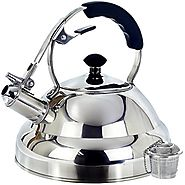 Tea Kettle - Surgical Whistling Stove Top Kettle Teapot with Layered Capsule Bottom, Silicone Handle, Mirror Finish, ...