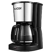 Aicok 10-Cup Drip Coffee Maker Thermal Coffee Machine with Glass Coffee Pot and Permanent Coffee Filter, Stainless St...