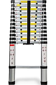 OxGord Aluminum Telescopic 12.5 Feet Heavy Duty Extendable Work, Light Weight Multi-Purpose Ladder - Max 330 lbs. Cap...