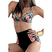 Zmart Women's Two Pieces High Waist floral Print Bikini Swimsuit