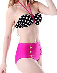 HDE Women Vintage 50s Pinup Girl Rockabilly High Waist Retro Bikini Swimsuit Set