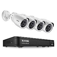 ZOSI 8-Channel 720P CCTV Security Camera System ,1080N AHD-TVI DVR Recorder and (4)1.0MP 720P(1280TVL) Night Vision I...
