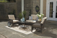 Patio Furniture Set. This Gorgeous 4-Piece Cushioned Wicker Garden Furniture Set Is Welcoming Outdoor Furniture. It I...