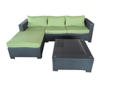 Patio Furniture Sets. A Beautiful Patio Furniture Set Featuring An L Shaped Sofa Wicker Patio Set With A Glass Top Pa...